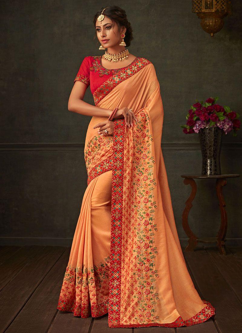 Orange Poly Silk Ceremonial Classic Saree