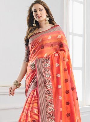 Orange Print Shaded Saree