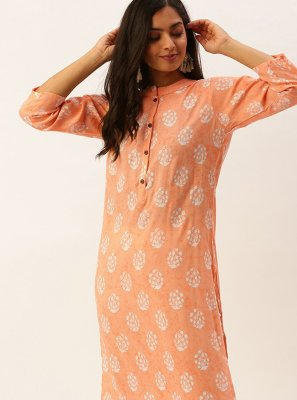 Orange Printed Casual Kurti