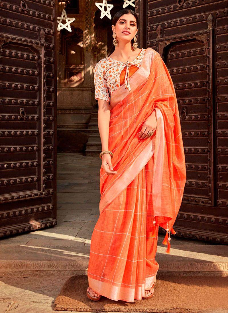 Orange Printed Casual Saree