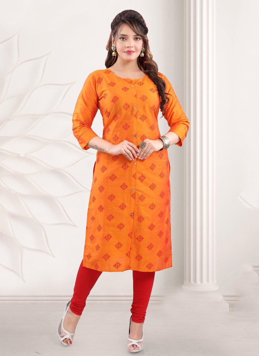 Orange Printed Cotton Casual Kurti