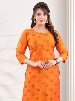 Orange Printed Cotton Casual Kurti