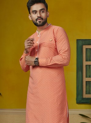 Orange Printed Cotton Kurta Pyjama