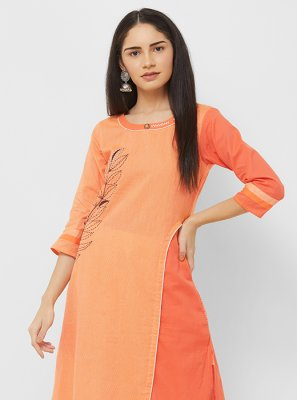 Orange Printed Cotton Party Wear Kurti