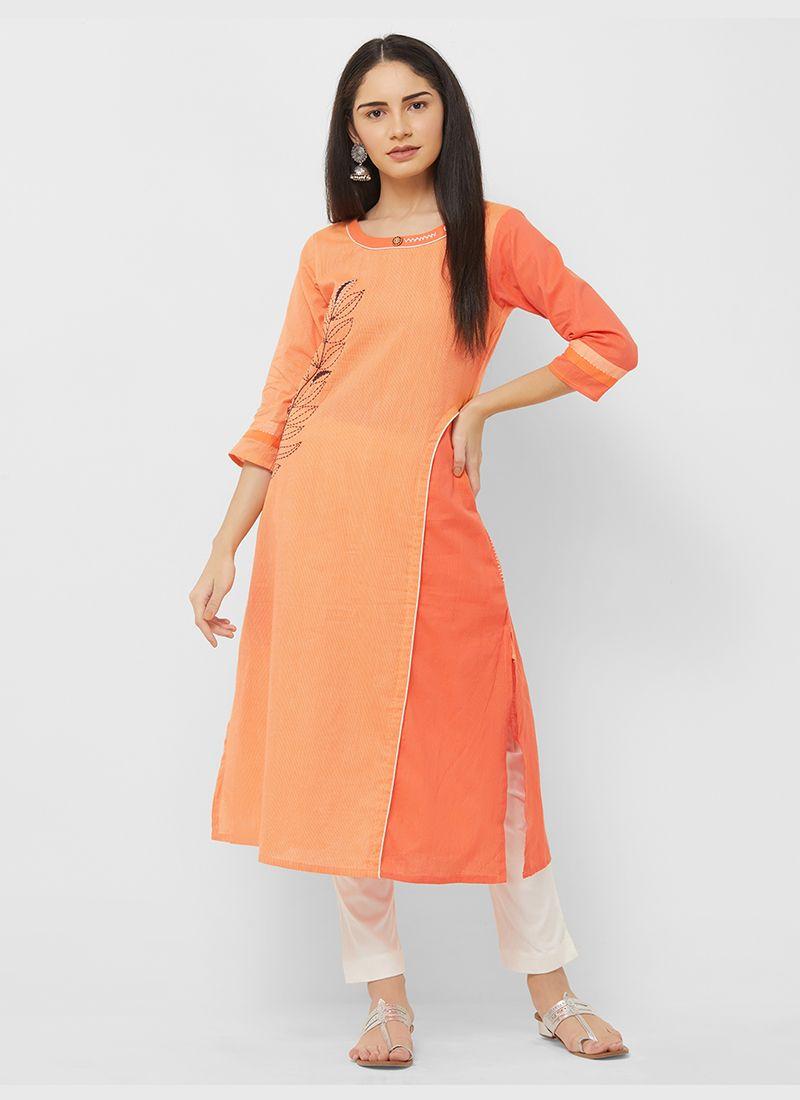 Orange Printed Cotton Party Wear Kurti