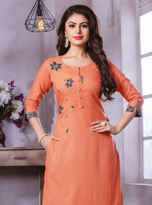 Orange Printed Party Wear Kurti
