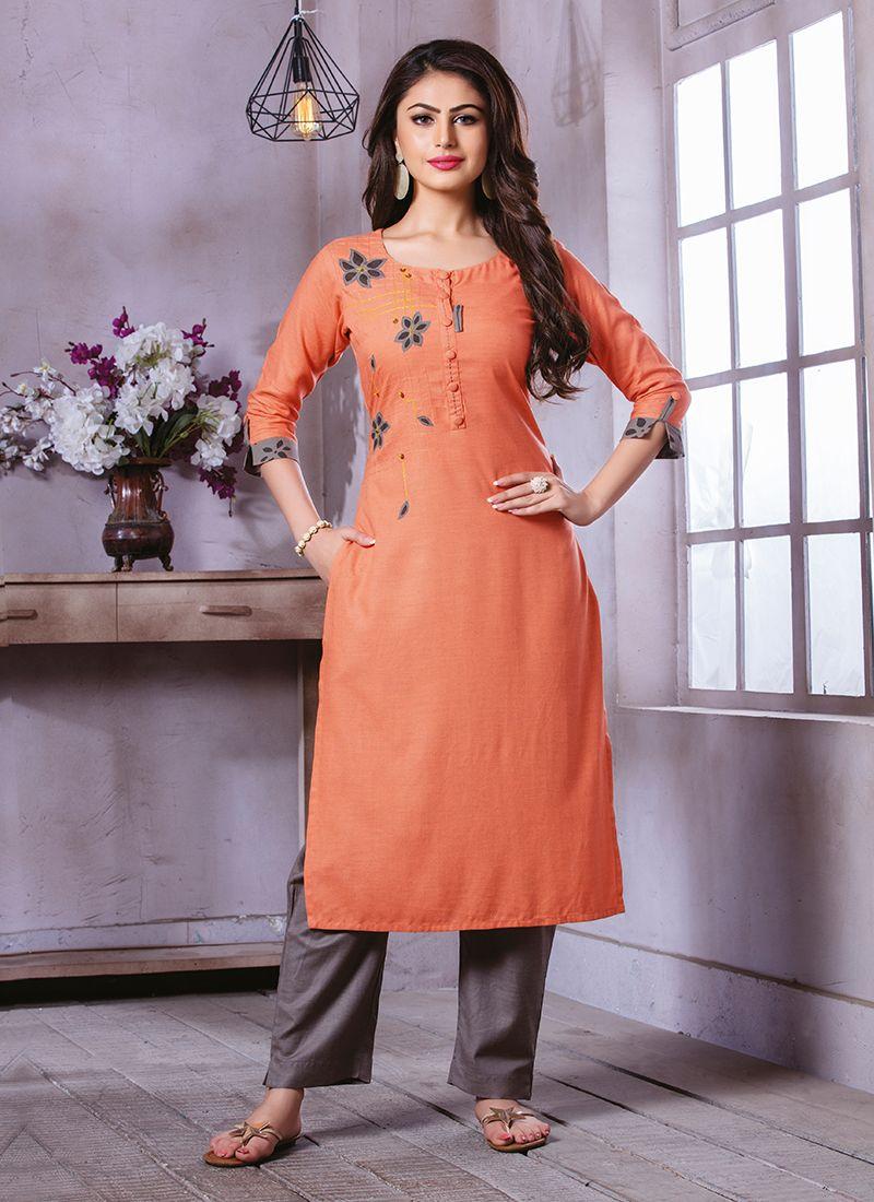 Orange Printed Party Wear Kurti