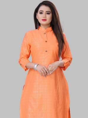Orange Printed Silk Party Wear Kurti