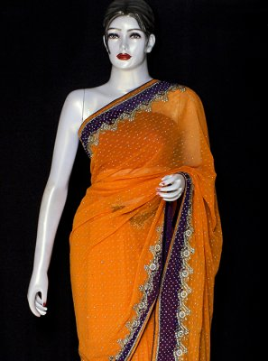 Orange Pure Chiffon Designer Saree