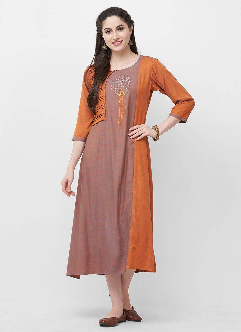 Orange Rayon Party Wear Kurti
