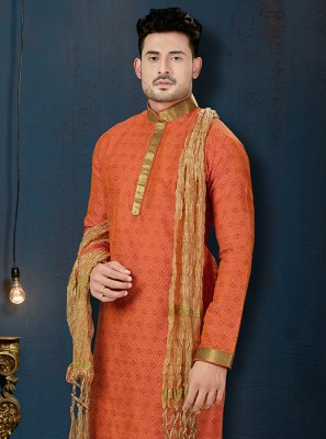 Orange Reception Art Dupion Silk Kurta Pyjama