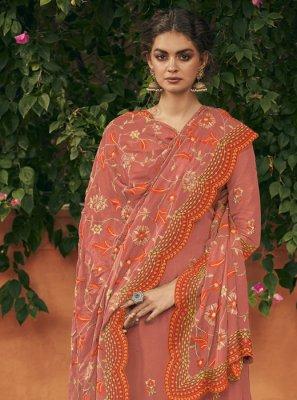 Orange Reception Art Silk Designer Palazzo Salwar Kameez