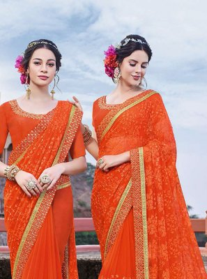Orange Reception Classic Designer Saree