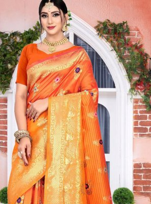 Orange Reception Classic Saree