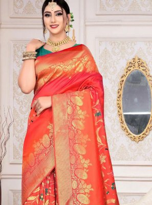 Orange Reception Silk Designer Saree