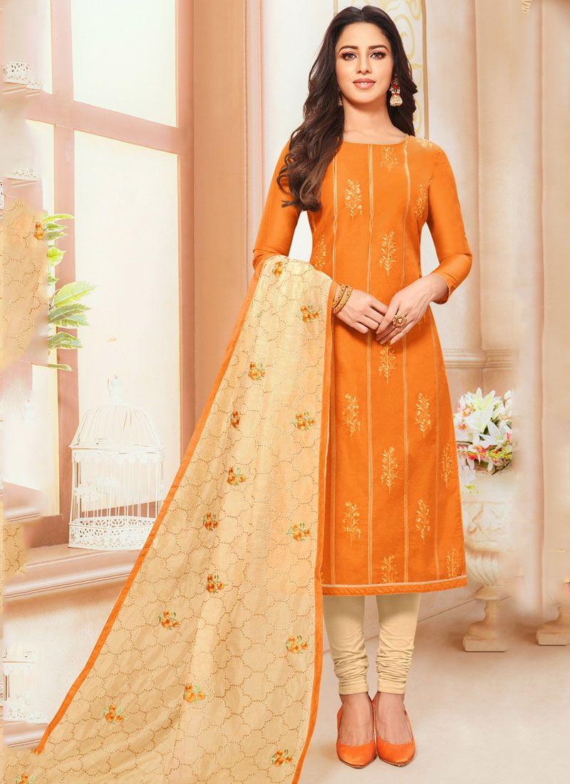 Orange Resham Casual Salwar Suit