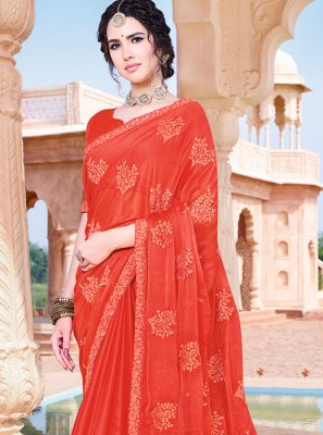 Orange Resham Festival Classic Saree