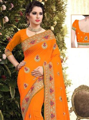 Orange Resham Georgette Designer Saree