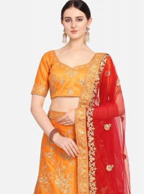 Orange Satin Lehenga Choli