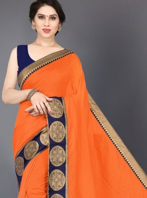 Orange Silk Border Designer Saree