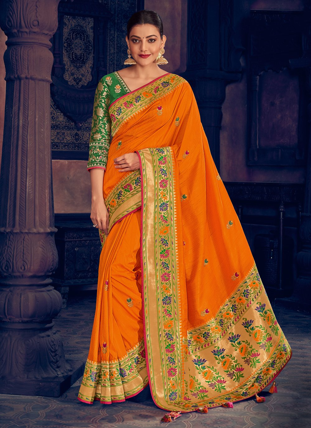 Orange Silk Classic Designer Saree