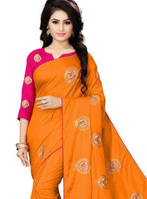Orange Silk Classic Saree
