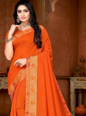 Orange Silk Classic Saree