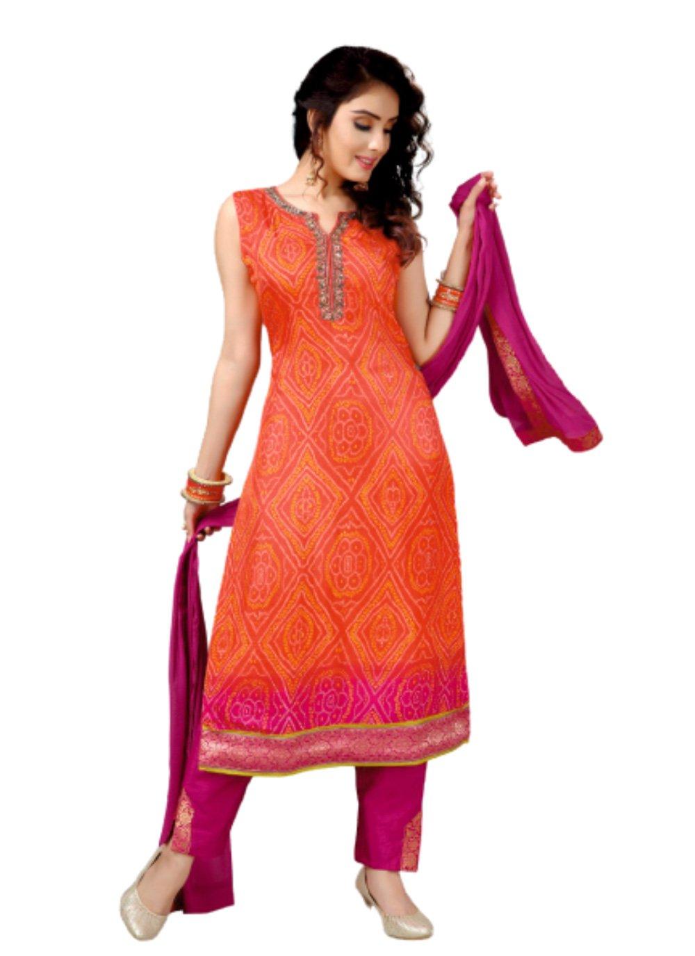 Orange Silk Sangeet Trendy Salwar Suit