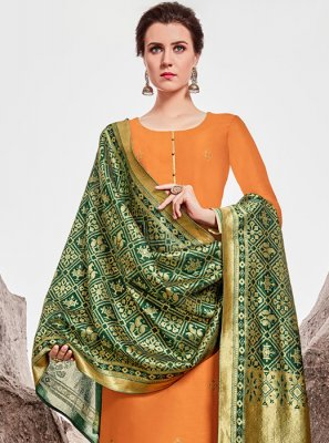 Orange Stone Work Chanderi Designer Straight Suit