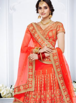 Orange Stone Work Engagement Lehenga Choli