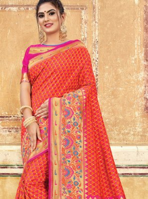 Orange Weaving Art Silk Designer Saree