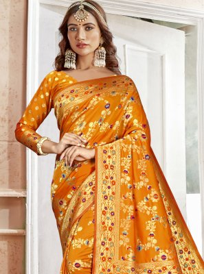 Orange Weaving Art Silk Saree