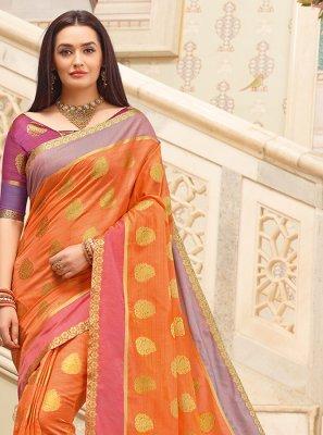 Orange Weaving Casual Classic Saree