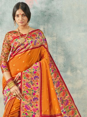 Orange Weaving Contemporary Saree
