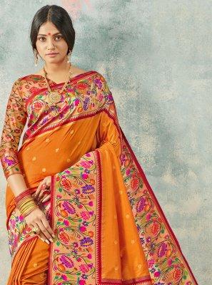 Orange Weaving Contemporary Saree