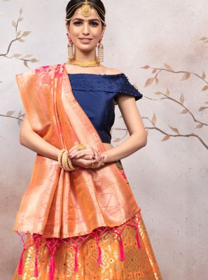 Orange Weaving Jacquard A Line Lehenga Choli