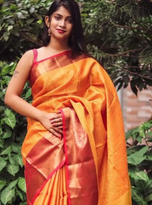 Orange Weaving Party Classic Designer Saree