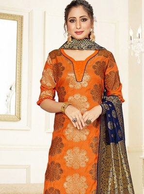 Orange Weaving Silk Salwar Kameez