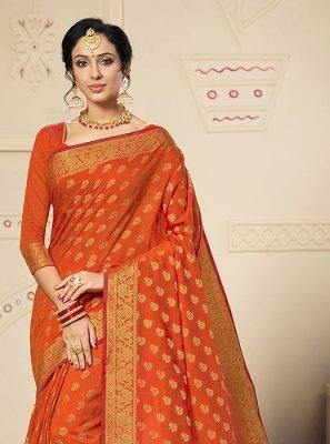 Orange Weaving Silk Saree