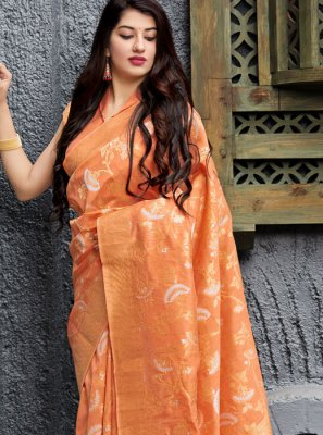 Orange Weaving Trendy Saree