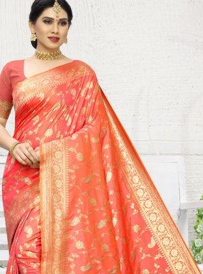 Orange Weaving Wedding Classic Saree
