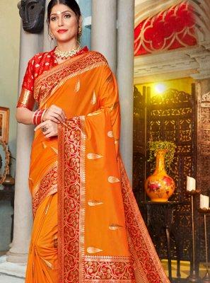 Orange Wedding Silk Classic Designer Saree