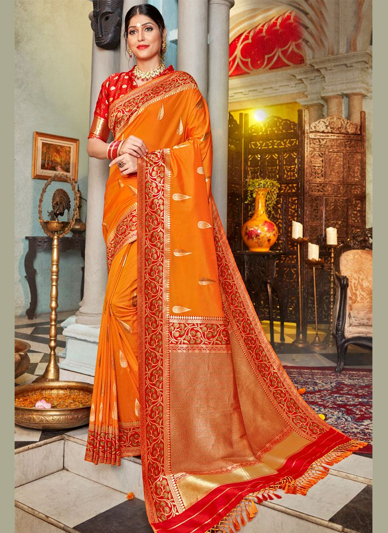 Orange Wedding Silk Classic Designer Saree
