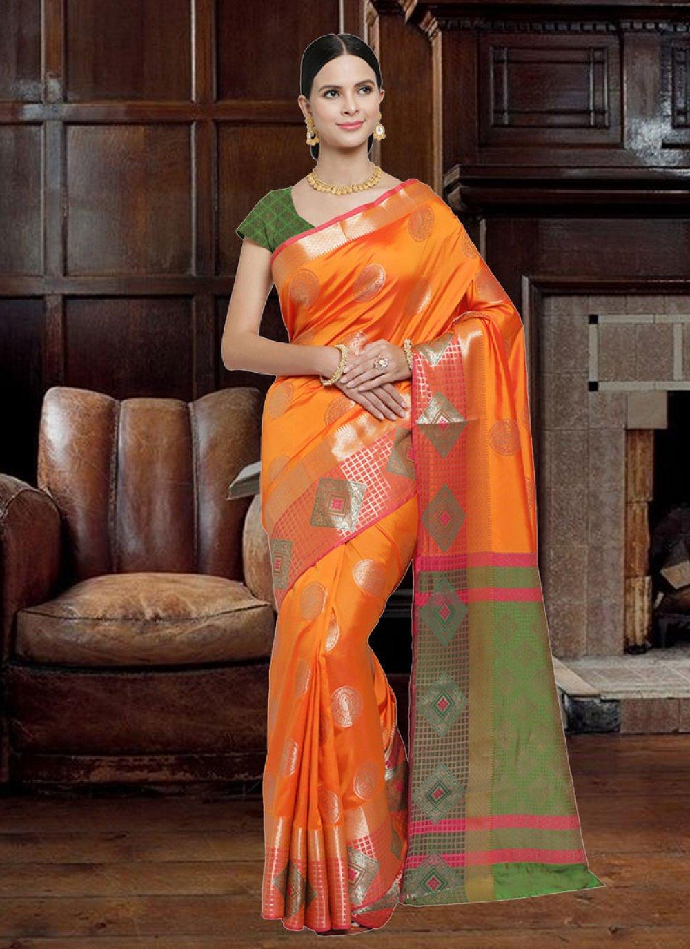 Orange Woven Art Silk Designer Saree