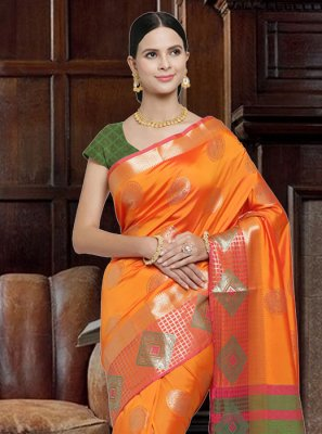 Orange Woven Art Silk Designer Saree