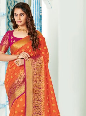 Orange Woven Classic Saree