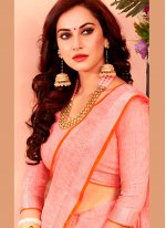 Pink Woven Festival Casual Saree