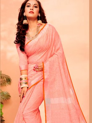 Orange Woven Festival Casual Saree