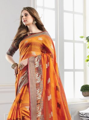 Orange Woven Handloom Cotton Designer Saree