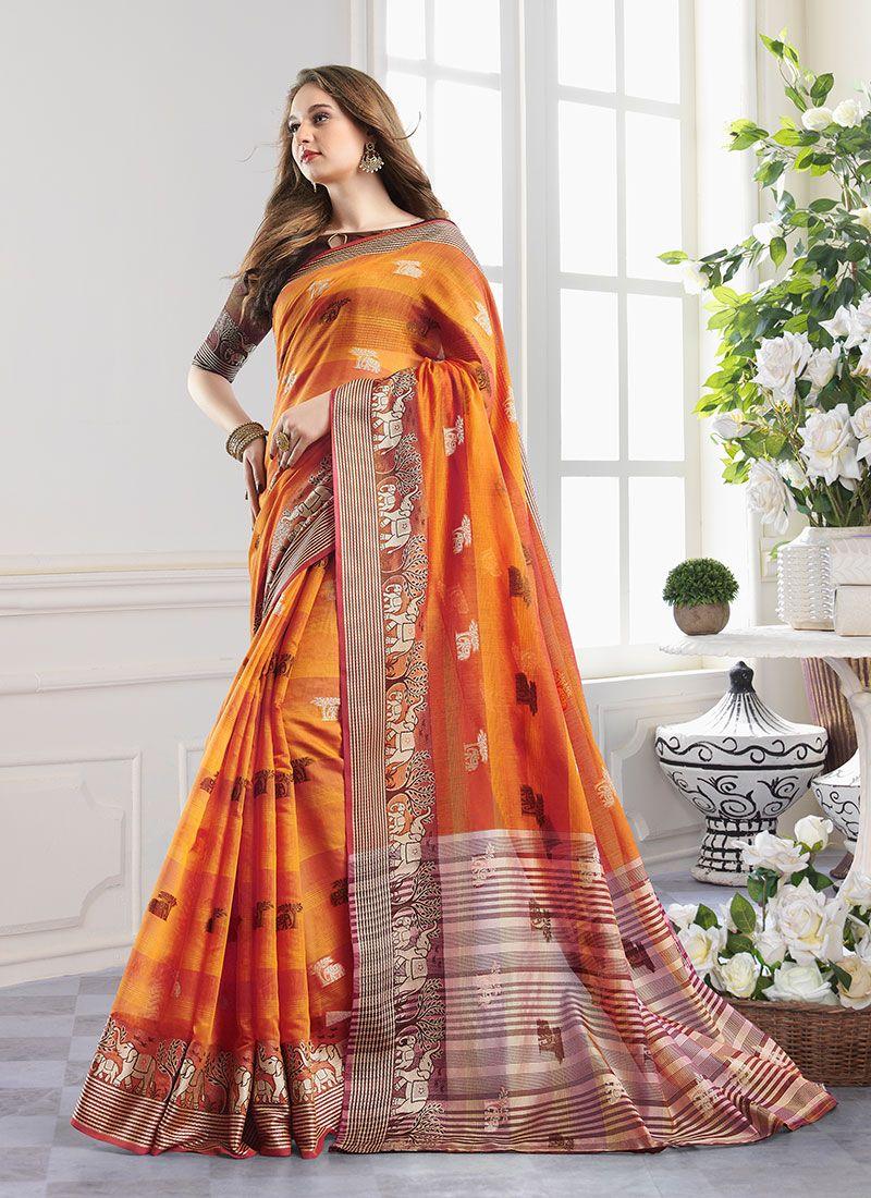 Orange Woven Handloom Cotton Designer Saree